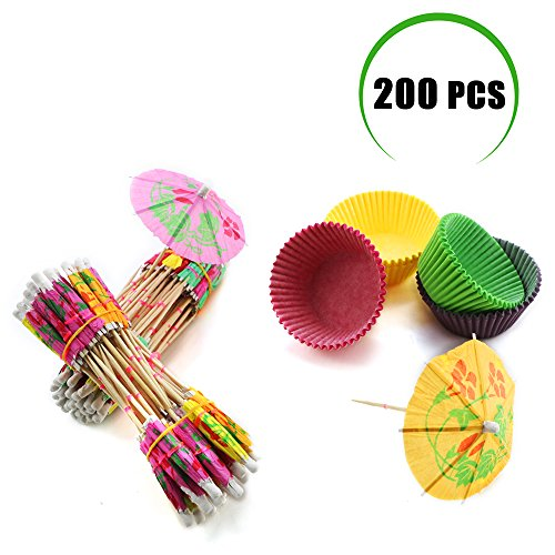 Weoxpr 200 Pcs Multicolor Umbrella Parasol Cupcake Toppers and Cupcake Liners for Summer Party, Family Party