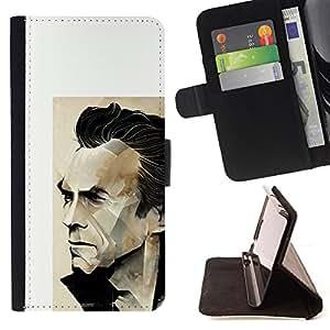 BullDog Case - FOR/Samsung Galaxy S5 V SM-G900 / - / ARNOLD ACTION HERO ACTOR POSTER WHITE /- Monedero de cuero de la PU Llevar cubierta de la caja con el ID Credit Card Slots Flip funda de cuer