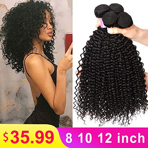 8A Brazilian Kinky Curly Bundles Virgin Brazilian Kinky Curly Hair Weave 100% Unprocessed Kinkys Curly Human Hair Bundles 8 10 12 Inch Natural Color