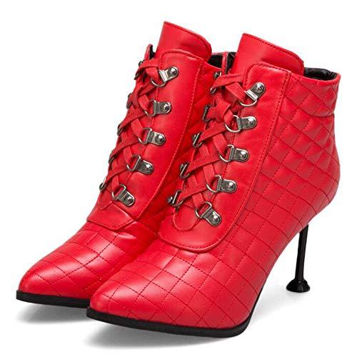 Red Red Alto Super Sposa Tacco Autunno Dimensioni Dimensioni Basso Da Donna Stivali Martin Tubo Appuntito Stivali Stivali Inverno Moda Di Sexy Stivali CITW E Grandi S8qwpnB