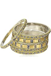 Chamak by priya kakkar Gray Set of 6 Crystal and Gold Mirror Bangle Bracelet