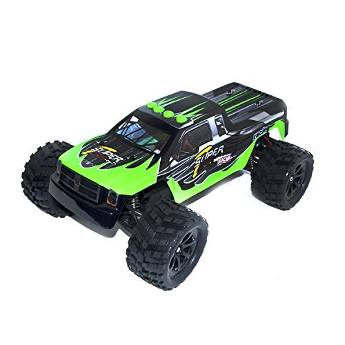 Gas Nitro Control Car Remote (ALEKO 66212 Electric Powered Brushless Motor High Speed Off-Road Monster Truck, Green 1/12 Scale)