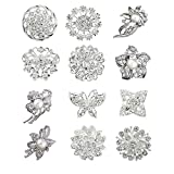 12pcs lot silver plated crystal rhinestone wedding brooches pins