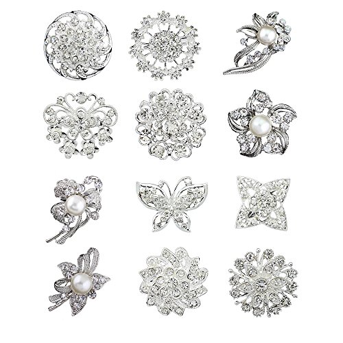 12pcs lot silver plated crystal rhinestone wedding brooches pins ()