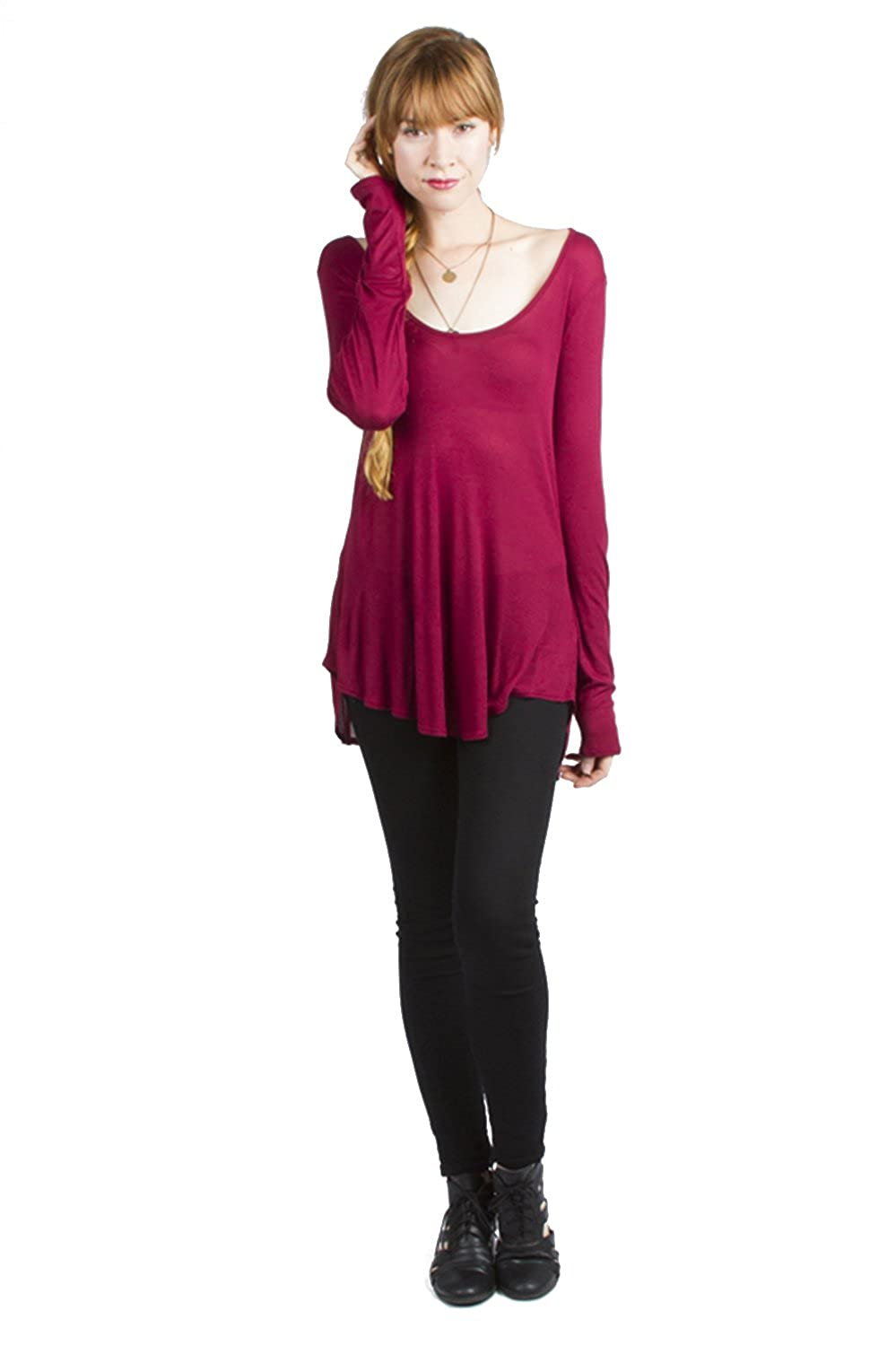 a1b0f0cf48f216 Ladies Micro Modal Long Sleeves Wide Scoop Neck Tunic Top at Amazon Women's  Clothing store: