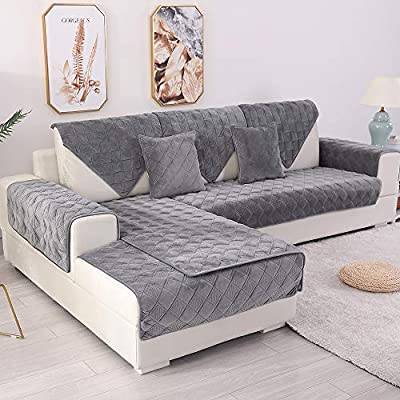 Only 2 Pieces//Not All Set TEWENE Sofa Cover Velvet Couch Cover Anti-Slip Sectional Couch Covers Sofa Slipcover for Dogs Cats Pet Love Seat Armrest Backrest Cover Coffee 28x28