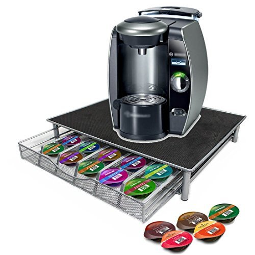 Top Home Solutions Coffee Machine Stand & Capsule Pod Holder Storage Drawer For Nespresso & Dolce Gusto Capsules