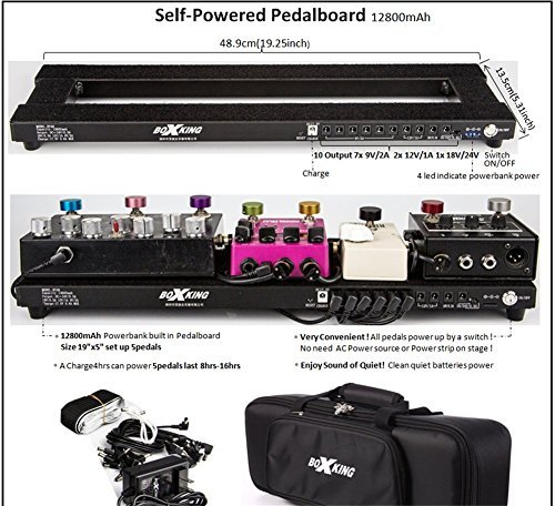 BoxKing Rechargeable Self Powered Pedal Board 19x5 W/Soft Case. Pedalboard built-in batteries bank 12800mAh.Noise free lasting 8-14hours. No need plug your pedals into the wall!Very Convenient! [並行輸入品]   B07GTWC17Z