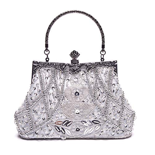 HOTER Wowens Antique Floral Seed/Bead/Sequin Bag Evening Clutch Wedding Party Clutch Purses and Handbags ()
