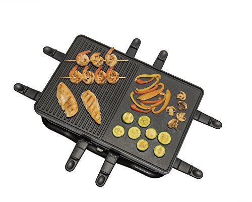 Hamilton Beach 8-Serving Raclette Electric Indoor Grill, Ideal for Parties and Family Fun, Black (31612-MX)