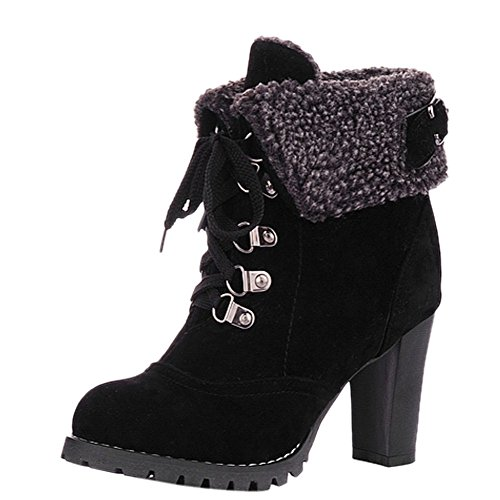 Womens Up Fur Boots Lined Warm Black Winter UK 39 6 OCHENTA Size Lauce Size Military Ankle Faux EU BExnISIqd