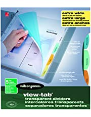 Wilson Jones 7891055069 View-Tab Extra Wide Transparent Dividers, Poly, 5-Tab Color
