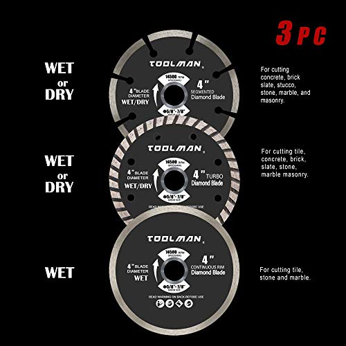 Toolman Circular Saw Blades Universal Fit 3Pc set 4'' Diamond Masonry for Tile Marble Concrete brick works with DeWalt Makita Ryobi by Toolman 47