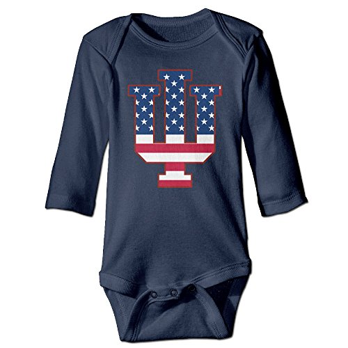 [Missone Newborn Indiana IU Flag University Bloomington Long Sleeve Bodysuit Baby Onesie] (Baby Golfer Costume)
