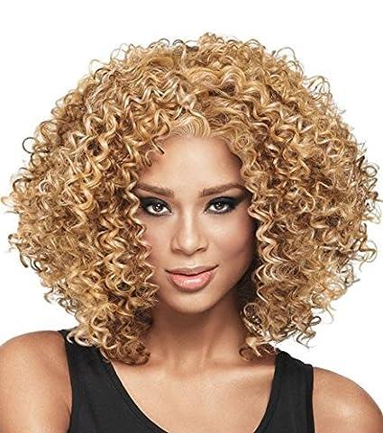 Blonde adultos peluca pelucas para mujer degradado rubio, parte lateral, rejilla sintética