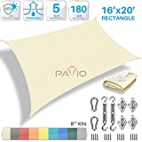 Patio Paradise 16' x 20' Sun Shade Sail with 8 inch Hardware Kit, Beige Rectangle Patio Canopy Durable Shade Fabric Outdoor UV Shelter Cover - 3 Year Warranty - Custom