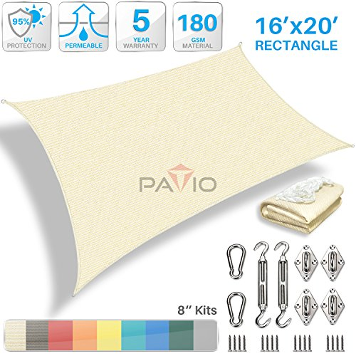 Patio Paradise 16' x 20' Sun Shade Sail with 8 inch Hardware Kit, Beige Rectangle Patio Canopy Durable Shade Fabric Outdoor UV Shelter Cover - 3 Year Warranty - Custom by Patio Paradise