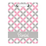 monogrammed clip board - Coral Pink and Grey Stars Monogrammed Double Sided Hardboard Clipboard