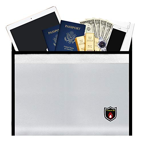 """OIOSEN Fireproof Document Bag 15.8"""" x 11.5"""" - New Version Fire and Water Resistant Money Bag Safe Storage for Documents, Passport, Jewelry and Laptop"""