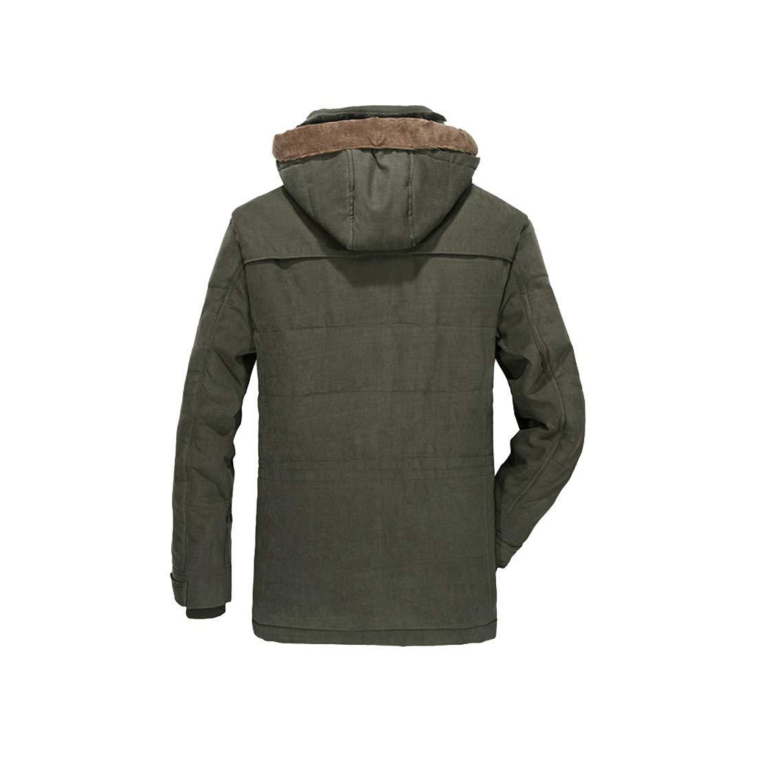 DAIYO Manteau Chaud D'épaisseur Chaude en Coton Parka pour Hommes avec Capuchon Amovible Vert