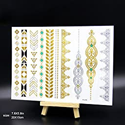 070FC 9 Sheets Large Henna Metallic Flash Temporary Tattoo Paper Gold Silver Flash Tattoos Sticker for Women Waterproof Henna Tattoo