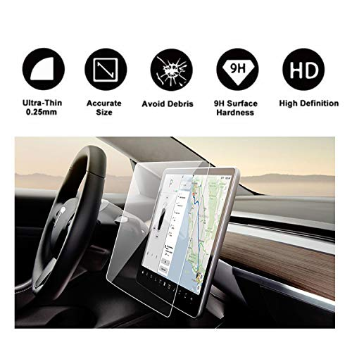Tesla Model 3 15'' Center Touchscreen Car Navigation Touch Screen Protector, P50 P65 P80 P80D Tempered Glass 9H Anti-Scratch and Shock Resistant by R RUIYA