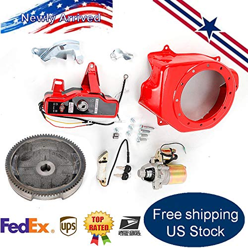 RANZHIX Electric Start Kit Flywheel with Starter Motor Charging Coil Ignition Fan Cover Shroud Fit Honda GX160 5.5HP Honda GX200 6.5HP