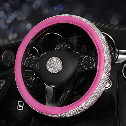 Hot Pink Bling - seemehappy Bling Bling Rhinestones Car Steering Wheel Cover Leather Handcraft Steering Wheel Covers for Girls (Hot Pink)