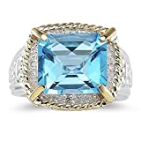 Smjewels 7.60 Ct Emerald Cut Blue Topaz And Sim. Diamond Ring In 14K Two-Tone Plated