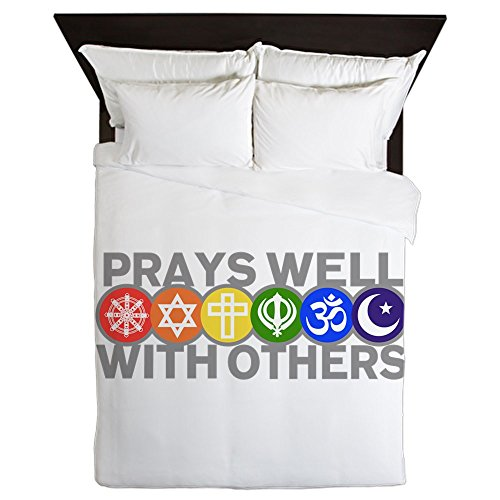 Queen Duvet Cover Prays Well With Others Peace Symbol by Royal Lion