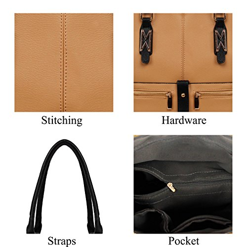 Khaki Handbags Women Bag Tote YOLANDO T0004 Multi Large Pockets For Leather Vegan PqxdZn