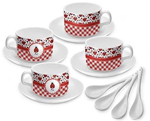 Ladybugs & Gingham Tea Cup - Set of 4