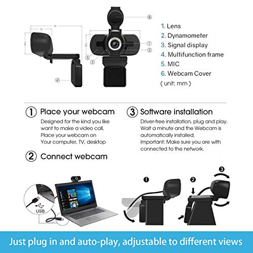 1080P Full HD Auto Light Correct Webcam with Built-in Noise Reduc Microphone & Privacy Cover, Desktop or Laptop Computer USB Webcam for Video Callin Conferencing Gaming Live Streaming Online Class