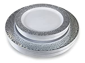 """ OCCASIONS "" 240 Piece Pack Lace design Premium Disposable Plastic Plates Set - 120 x 10.25'' Dinner + 120 x 7.5'' Salad/dessert - (Florence White and Silver)"