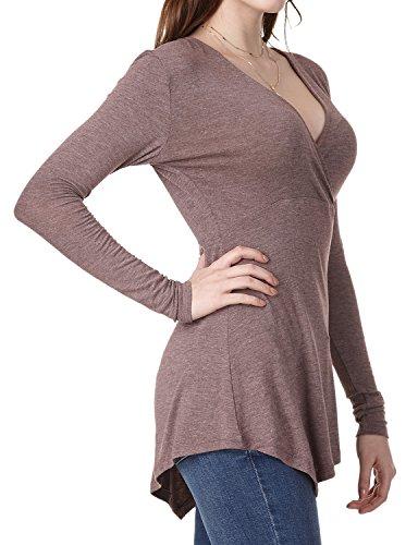 Regna X Boho for Womens Draped Empire Waist Faux wrap Brown Heather Medium Handkerchief Hem Tunic Shirts