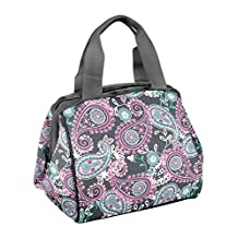 Fit & Fresh Charlotte Insulated Lunch Bag for Women Girls with Ice Pack, Ideal for Work  School, Zips Closed, Pink Aqua Paisley