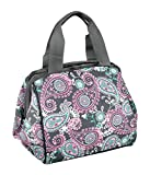Fit and Fresh 902FFST808 Charlotte Insulated Lunch Women Cooler Thermal Tote Bag for Work/Office/Picnic/Beach, Pink Aqua Paisley, 9' x 6' x 8',