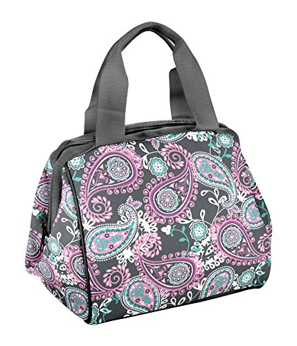 Fit & Fresh Charlotte Insulated Lunch Bag for Women Girls with Ice Pack, Ideal for Work School, Zips Closed, Pink Aqua Paisley - Fresh Lunch