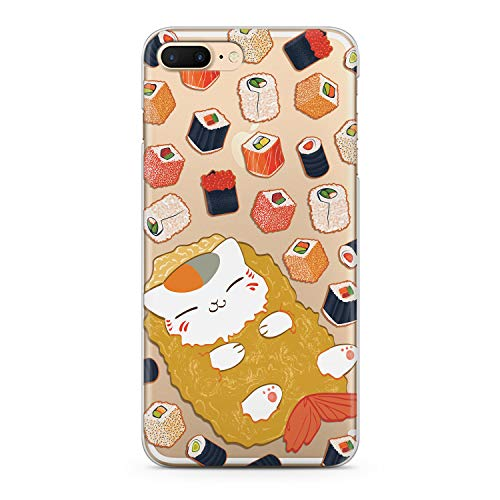 Lex Altern TPU iPhones Case X Xr 8 Plus 7 6s 6 SE 5s 5 Sushi Cute Apple Clear Phone Kawaii Cover Cat Silicone Food Print Protective Durable Max Xs Translucent Kids Girls Women Pattern Fish Kitten -