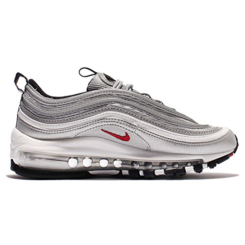 "Nike Womens Air Max 97 OG QS ""Silver Bullet La Silver"" - Metallic Silver/Vrsty Rd Trainer Silver"