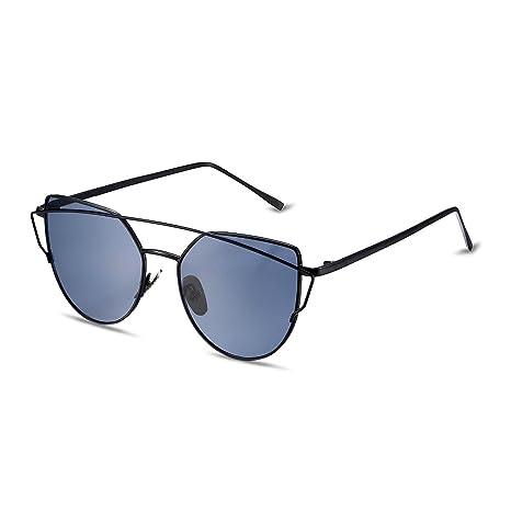 Nykkola Gafas de sol, tipo ojo de gato, estilo clásico, con funda, lentes con efecto espejo, UV400