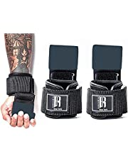 RIMSports Weight Lifting Hooks Heavy Duty Lifting Wrist Straps for Pull ups Deadlift Straps for Power Lifting Lifting Grips with Padded Workout Straps for Weightlifting Gym Gloves for Men and Women