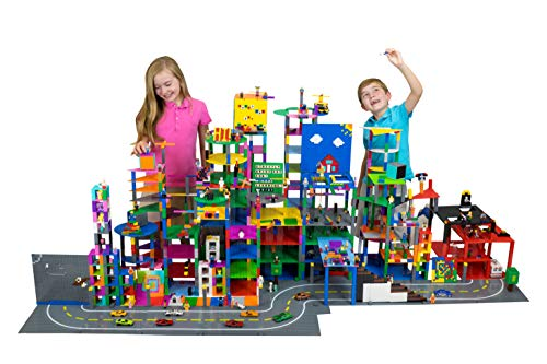 Strictly Briks Classic Baseplates 10 x 10 Brik Tower 100% Compatible with All Major Brands   Building Bricks for Towers and More   4 Blue Stackable Base Plates & 30 Stackers
