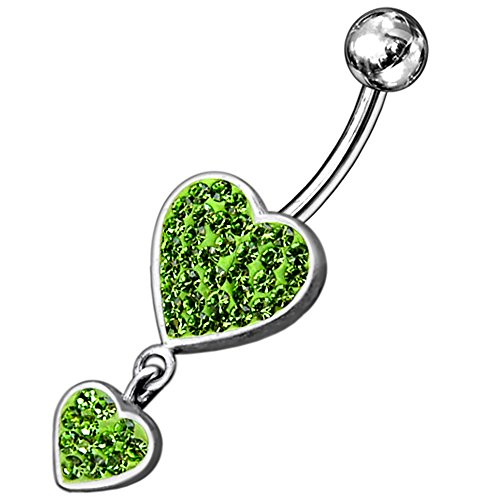 Peridot Green Multi Crystal Stone Double Heart Dangling Design 925 Sterling Silver Belly Button Piercing Ring Jewelry