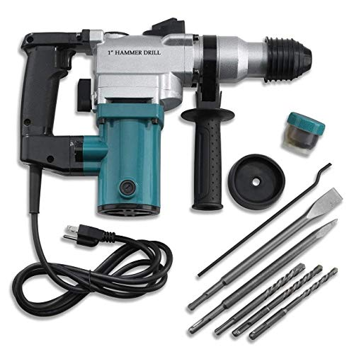Selva Multipurpose 1' SDS Electric Hammer Drill Rotary Demolition Set with Variable Speed | Heavy Duty High Speed Powerful Motor with Non Slip Handle | Perfect Time Saver Durable Tool Kit Blue