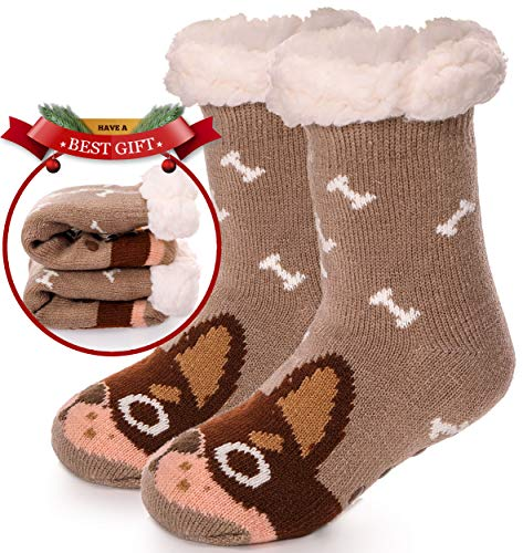 Boys Girls Slipper Socks Fuzzy Warm Soft Thick Heavy Fleece lined Christmas Stockings For Kid Child Toddler Winter Socks (Dog (Brown) ()