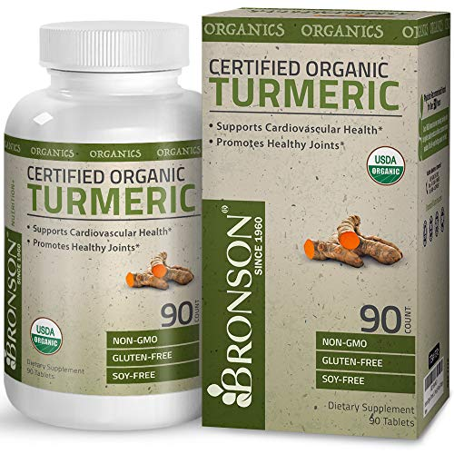 Natural Organic Turmeric Curcumin – USDA Certified Turmeric Root Extract, Premium Joint Support, Promotes Joint & Cardiovascular Health, Non-GMO, Gluten Free, Soy Free, 90 Tablets