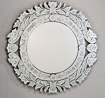 Amazon.com: Afina Venetian Round Wall Mirror in Cut & Etched Glass ...