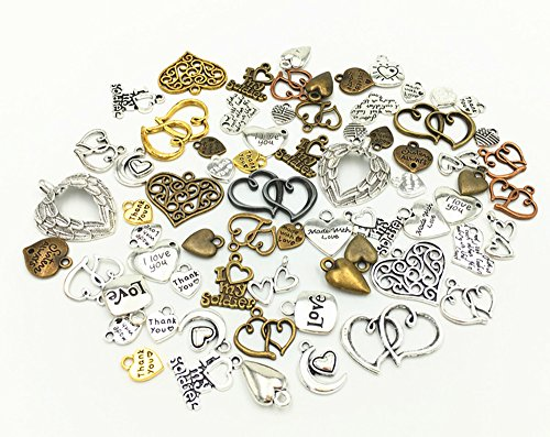 100g Assorted(Color&Style) Love Heart Shape Punk Steampunk Charm Pendant Connector for Necklace (Heart Bracelet Connector)