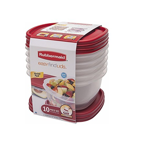 (Rubbermaid 1921887 Storage Containers 10-Piece Red, Clear)